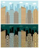 Street view with cityscape, skyscrapers and modern buildings in the day and night. Vector urban landscape illustration Royalty Free Stock Photo