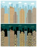 Street view with cityscape, skyscrapers and modern buildings in the day and night. Vector urban landscape illustration Royalty Free Stock Photos