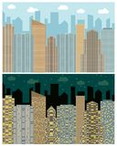 Street view with cityscape, skyscrapers and modern buildings in the day and night. Vector urban landscape illustration Stock Images