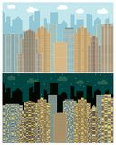 Street view with cityscape, skyscrapers and modern buildings in the day and night. Vector urban landscape illustration Royalty Free Stock Images