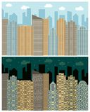 Street view with cityscape, skyscrapers and modern buildings in the day and night. Vector urban landscape illustration Stock Photography