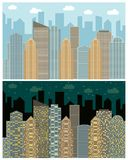 Street view with cityscape, skyscrapers and modern buildings in the day and night. Vector urban landscape illustration Stock Photo
