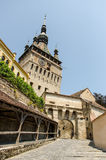 A street view of The Clock Tower in Sighisoara, Romania Royalty Free Stock Photography