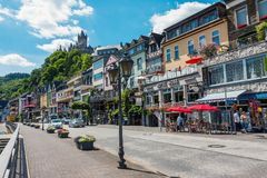 Street view of Cochem town in Germany. Cochem, Germany - July 5, 2017: Street view of Cochem, a traditional German town on the Mosel river, popular wine and Stock Images