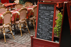 Street view of a coffee terrace in Strasbourg Royalty Free Stock Images