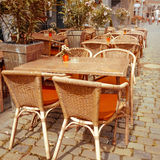 Street view of a coffee terrace Stock Images