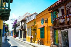 Street view of the colorful Cartagena in Colombia stock photos