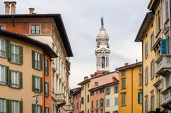 Street view with colorful houses in Bergamo, Lombardia Royalty Free Stock Photo