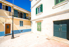 Street view with colorful old houses in Greece Stock Image
