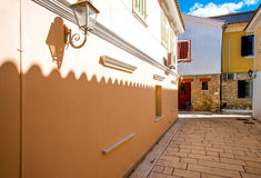 Street view with colorful old houses in Greece Royalty Free Stock Photography