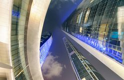 Street view of Corniche Road buildings at night, Abu Dhabi Stock Photography