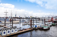 Street view of Cruise ship in the harbor of Hamburg, germany Royalty Free Stock Photo