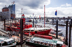 Street view of Cruise ship in the harbor of Hamburg, germany Stock Image