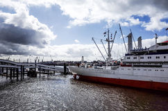 Street view of Cruise ship in the harbor of Hamburg, germany Stock Photography