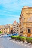 Street view on Dome of St Nicholas Church Valletta stock photo