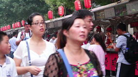 Street view of Donghuamen snack street at daytime, HD. stock video