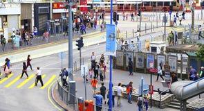 Street view of downtown kwun tong, hong kong Stock Photo