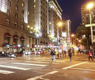 Street view in Downtown San Francisco at night - SAN FRANCISCO - CALIFORNIA - APRIL 17, 2017. Street view in Downtown San Francisco at night Stock Photo
