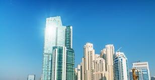 Street view of Dubai Marina skyline at sunset Royalty Free Stock Photos