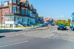 Street view in Eastbourne, East Sussex, UK. EASTBOURNE, SUSSEX, UK - MAY 20,2018: Street view in Eastbourne - a town, seaside resort and borough in the county of royalty free stock photos