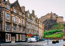 Street view on Edinburgh Castle in Scotland. In the UK royalty free stock photo