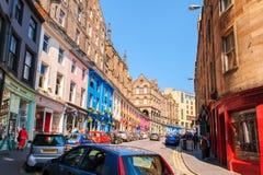 Street view of Edinburgh, Scotland, UK. Street view of Edinburgh under the blue sky Royalty Free Stock Photo