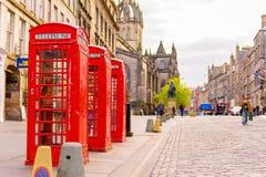 Street view of Edinburgh, Scotland, UK. Street view of Edinburgh under the blue sky Royalty Free Stock Images