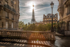 Street view with Eiffel Tower in Paris, France stock photos