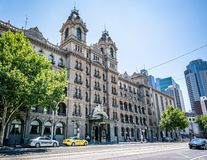 Street view of the facade of the Windsor hotel building a luxury Victorian era grand hotel in Melbourne Victoria Australia royalty free stock photos