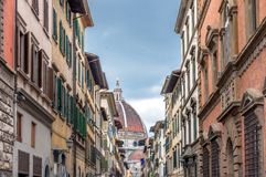 Street view with famous cathedral in Florence, Italy Stock Image