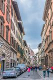 Street view with famous cathedral in Florence, Italy Stock Photos