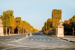 Elysian avenue in Paris. Street view of famous Elysian avenue during the morning light in Paris stock photo