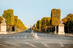 Elysian avenue in Paris. Street view of famous Elysian avenue during the morning light in Paris stock photography