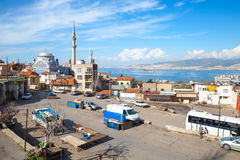 Street view with Fatih Camii old mosque Royalty Free Stock Image