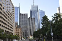 Street View in the Financial District from Toronto of Ontario Province in Canada. On 24th June 2017 Royalty Free Stock Photography