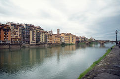 Street view of Florence. Shoot in Florence, Italy, riverside Royalty Free Stock Photography