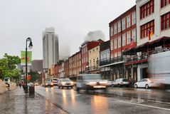 New Orleans cityscape during rainy day. stock photos