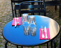 Street view of a glasses on a table Stock Photos