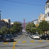 Street View of the Golden Gate Bridge Stock Images