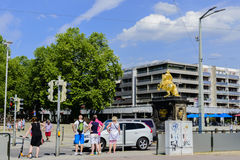 Street view of The Golden Rider Dresden Stock Image