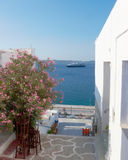 Street view in a Greek island. Ship included Royalty Free Stock Images