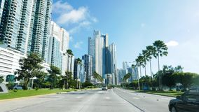 Street view of Highrises in the heart of Panama. City, Panama stock images