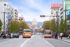 Street view of Himeji in front of the train station Royalty Free Stock Photo
