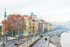 Street view of historic architectural in Budapest, Hungary royalty free stock photography