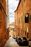 Street view of historic city Siena, Italy Royalty Free Stock Images