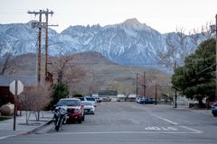 Street view in the historic village of Lone Pine - LONE PINE CA, USA - MARCH 29, 2019. Street view in the historic village of Lone Pine - LONE PINE CA, UNITED stock images