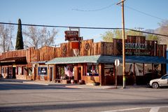 Street view in the historic village of Lone Pine - LONE PINE CA, USA - MARCH 29, 2019. Street view in the historic village of Lone Pine - LONE PINE CA, UNITED stock photo