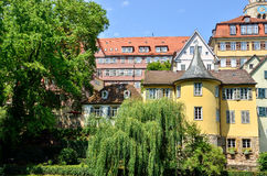Street view of the Hoelderlin Tower in Tuebingen, Germany Royalty Free Stock Images