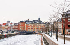 Street View on Hojbro Plads Buildings in winter Copenhagen royalty free stock photography