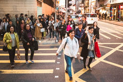 Street view in Hong Kong Central. March, 2017. People on street after work in Hong Kong Stock Photography